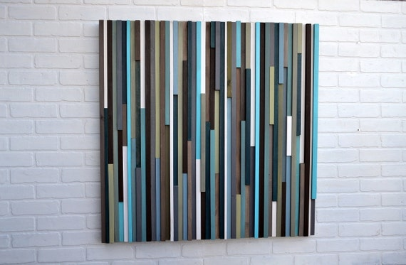 Wood Wall Art - Reclaimed Wood Art - Lines - 36 x 36 - Wood Art Blues and Greens