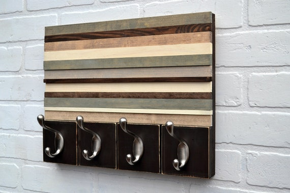 Wood Sculpture with Hooks - Style Meets Function - Upcycled, Distressed Wood