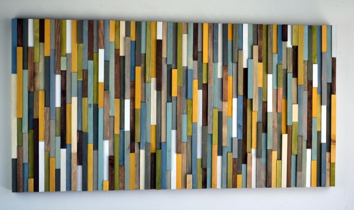 Modern Reclaimed Wood Art Wall Sculpture Abstract Painting on