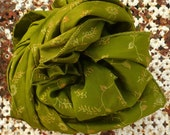 Floral Olive green Scarf  woman accesories Recycled Silk  Fall Winter v007