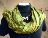 Silk Shawl ..woman accesories abstract.. ..green..  -Recycled Silk Sari V