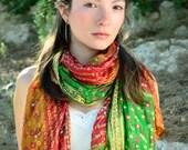 Multicolor Silk Shawl  woman accesories-Recycled Silk Sari TUA