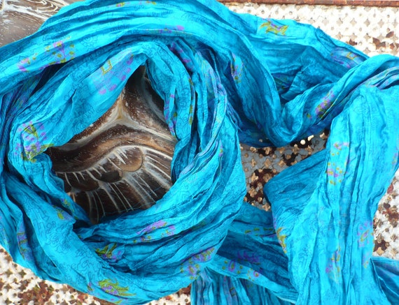 Handmade- Scarf -Deepskyblue- Silk Scarf - woman FALL WINTER  accesories...Recycled sari t010