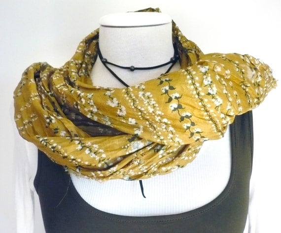 Scarf Olive green  floral Raw Silk edges Scarf Shawl - woman accesories-Recycled Silk Sari