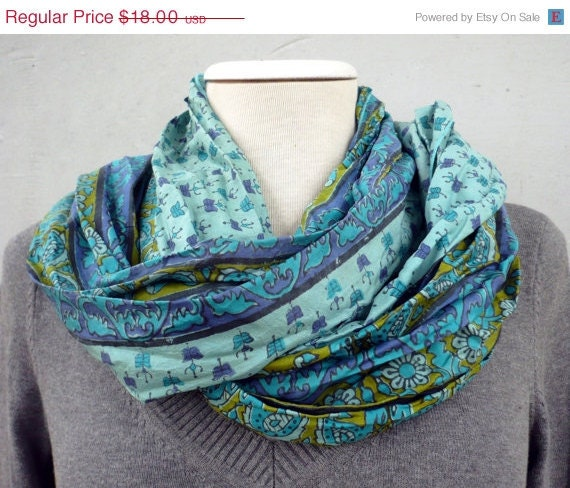 ON SALE Silk Scarf ETSY -Recycled Silk woman accesories ... Funny.. Naif.. creative fabric... fall fashion