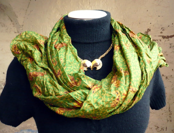 Silk Shawl ..woman accesories abstract.. ..green..  -Recycled Silk Sari V