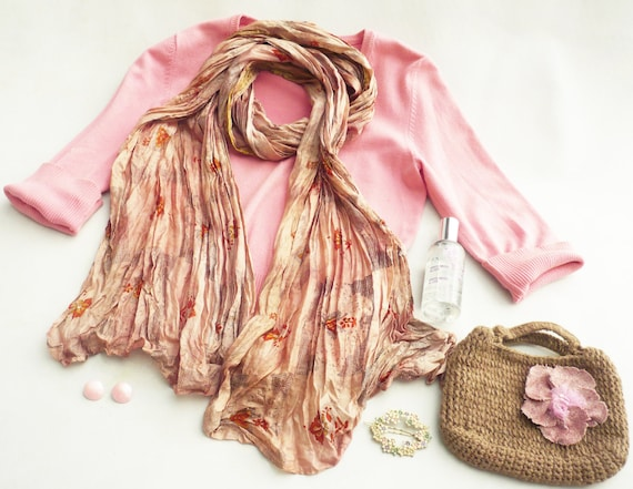 Scarf-Recycled Silk woman accesories ...Ideal complement...Rose Dior RF