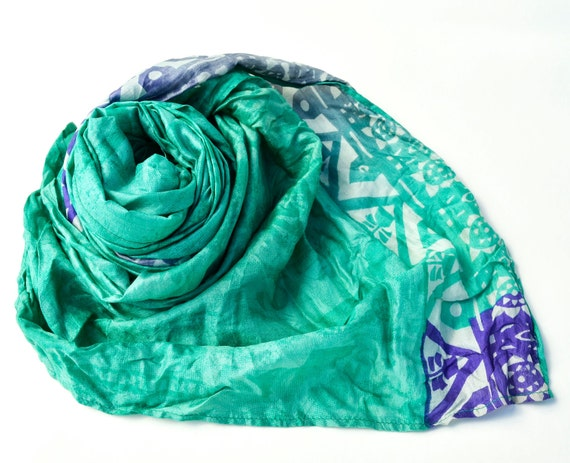 Silk Scarf emerald green Recycled accesories Silk Scarves ....Suggestive  and delicate  V