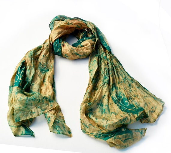 Scarf-Recycled Silk- woman accesories ...60s... hippie..batik..look V