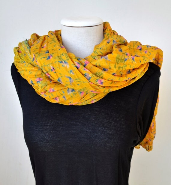 Silk Shawl ..woman accesories yellow Recycled Silk Sari Am