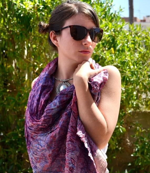 Shawl  Silk...Scarf Neck.. floral  woman accesories Recycled Silk Sari... FASHION Scarves..MU