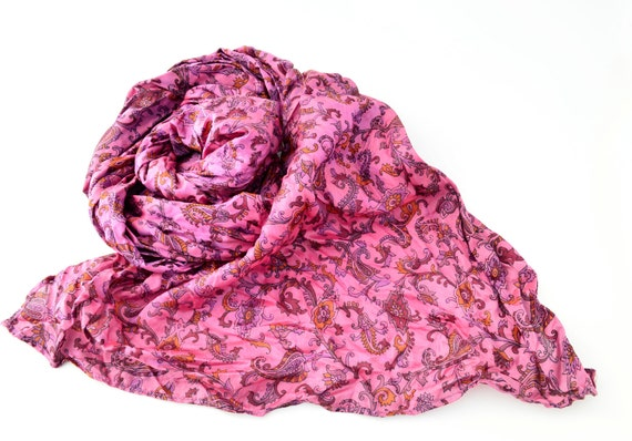 Silk Scarf Recycled wrap accesories  Silk Scarves woman paisley  ideal romantic rf