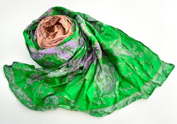 Silk Scarf   Recycled green and salmon  Sari woman accesories V