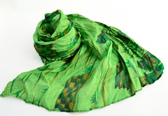 Silk Scarf Recycled Kelly green  Sari woman accesories V