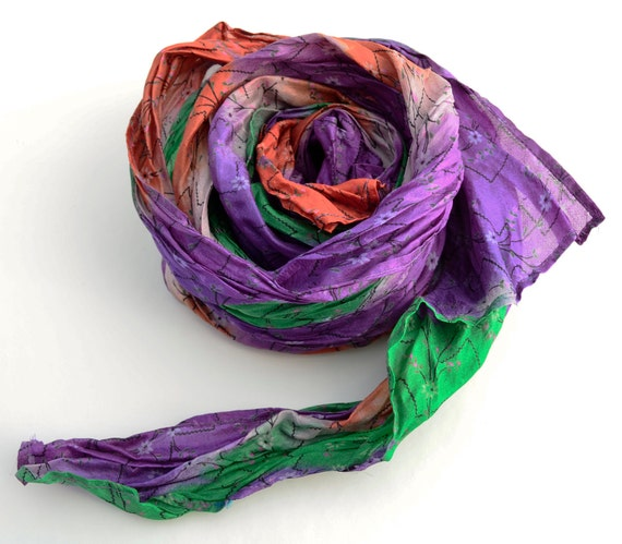 Silk Scarf Recycled wrap accesories  Silk Scarves woman  ideal romantic mu