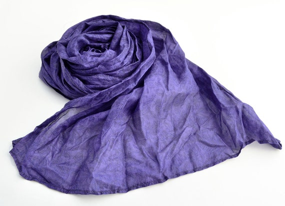 Silk Scarf  violet  blue Recycled accesories Silk Scarves  woman Az