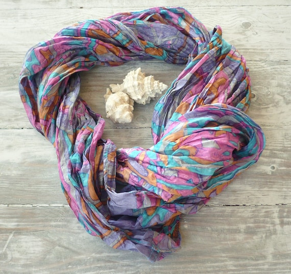 Infinity Scarf in recycled sari silk, Wearable Woman  accesories M
