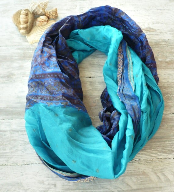 Infinity Scarf blue turquoise recycled sari silk, Wearable Woman  accesories AZ