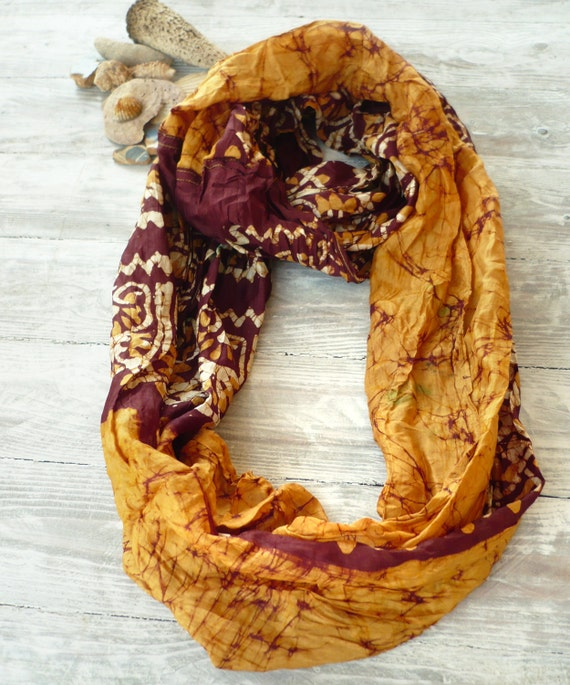 Infinity Scarf , circle scarf, loop, necklace scarf, butterscotch batik recycled sari silk, Wearable Woman  accesories Amo