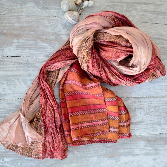 Silk Scarf Recycled wrap accesories  Silk Scarves  ideal romantic salmon rf