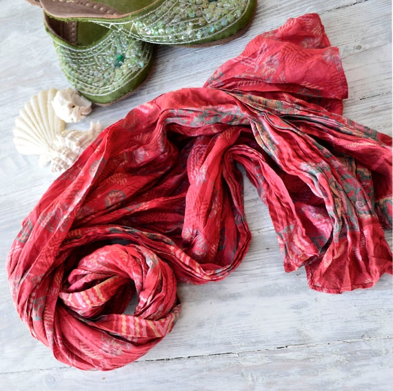Silk Scarf   Recycled   Sari floral red woman accesories R
