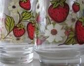 Vintage Footed Strawberry Juice Glasses - Set of 2