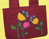 WALKER BAG  designer applique canvas  FLOWERS