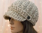Crochet Newsboy Hat - Oatmeal - Made to Order - For Women