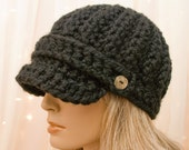 Crochet Newsboy Hat - Black - Warm Wool Newsboy - Made to Order