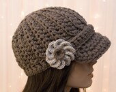 Cotton Crochet Newsboy Hat with Flower -  For Women - Pick Your Colors - Made to Order