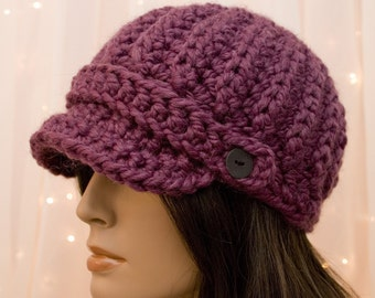 Crochet Newsboy Hat - Purple - Lavender - Fig - Made to Order - For Women