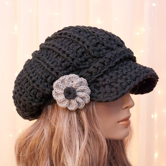 Items similar to Slouchy Cotton Crochet Newsboy Hat with ...