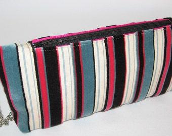 Velvet Clutch-Wristlet, Chain Handle, Black, Pink, Blue Stripes