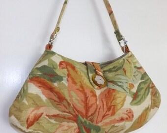 SALE-Ladies Handbag, Bark Cloth, Petite Size, Vintage Button, Orange, Green, Tropical
