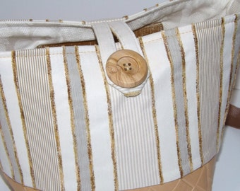SALE-Small Bucket Bag, Shoulder Bag, White, Tan, Stripe, Cotton, Silk , Faux Leather