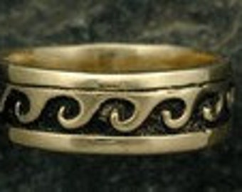 14K Gold Wave Wedding Ring Band