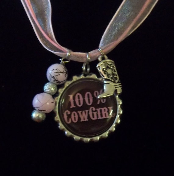 Cowgirl bottle cap charm necklace