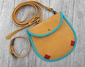 August sale Leather medium size  cross body bag / hipbag in orange yellow, turquoise and red