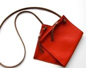 Leather medium size  cross body bag / hipbag in orange red  leather and two zipper compartements - rinarts