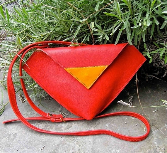 Leather crossbody bag / clutch / purse / hipbag  DIAMOND in red and tan