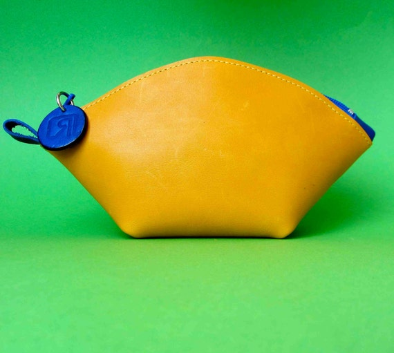 Leather  zipper pouch/ bag organizer / cosmetic bag in buttercup yellow cow leather and  cobalt blue zipper