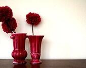 raspberry pair of vintage mini vases