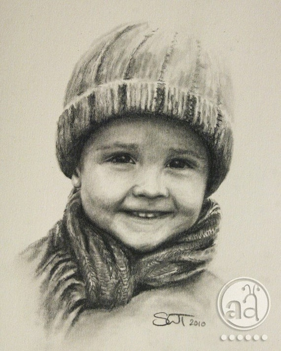 Hand-drawn Custom Pencil Portraits - high quality Portrait Drawing from your photo - 8x10 - Illustration Sketch