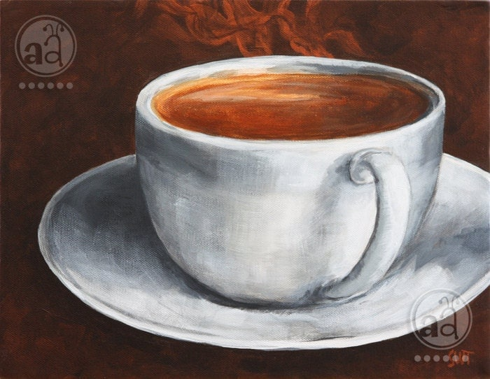 Steaming hot coffee in a cup original acrylic painting on for Painting with coffee