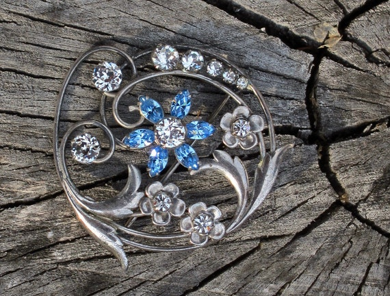 Reserved for Karen --  Art Nouveau Sterling Silver Carl Art Brooch Pin Pendant with Sapphire Blue Rhinestones
