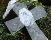 Large Cross 2-Jeanne d'Arc Inspired Faux ZINC Madonna