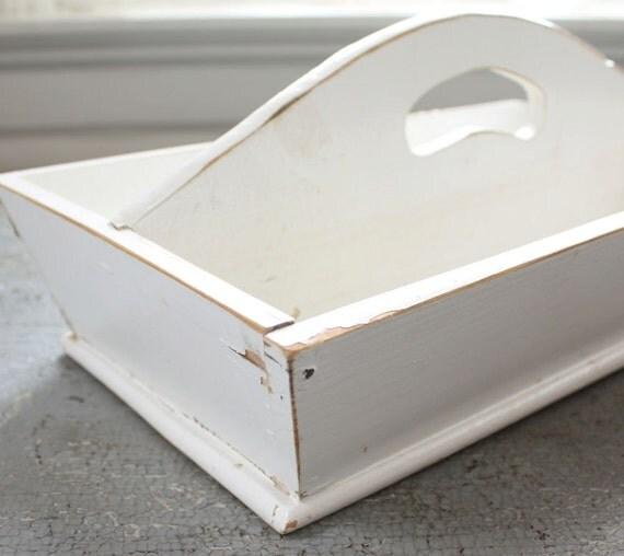 Vintage White Wooden Cutlery Box Tray Romantic Farmhouse Chic