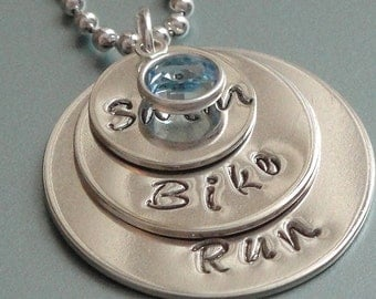Triathlon necklace. Personalized triathlon jewelry.  Christmas gift for triathlete.  Hand stamped necklace.