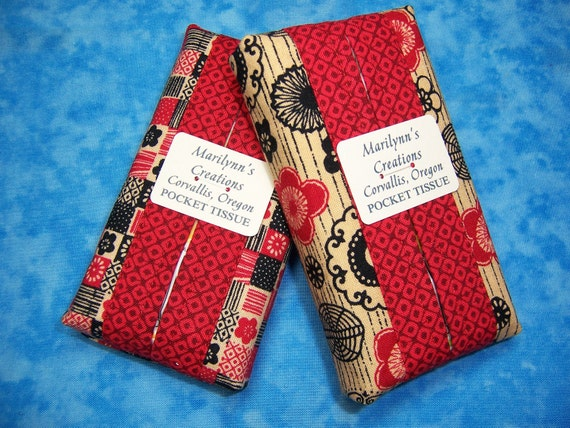 2 Pocket Tissue Holders - Travel Tissue Cases Asian Fabric Tissue Carrier Cloth Red - Ready to Ship