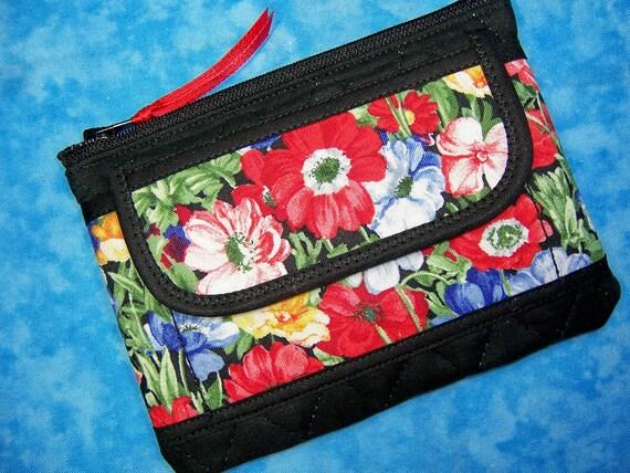 Small Zipper Wallet - Women Coin Purse Fabric Floral - Ready to Ship